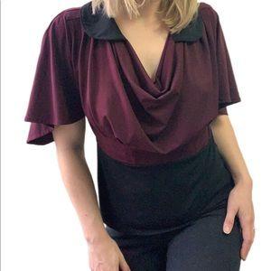 Vintage Collared Plum Black Short Sleeve Blouse